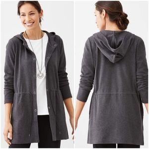 J. Jill Pure Jill • drawstring hooded gray jacket
